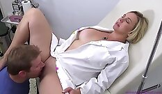 Blonde Nurse Using Tongue to Decide Her Son