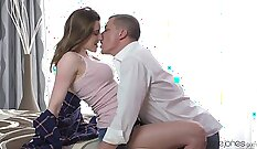 Big-breasted brunette being nice romantic treat on sofa