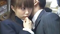 Curly haired Japanese girl gets groomed and fucked in the bus