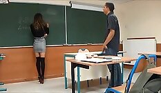 Big tit teacher and female student sucking lessons