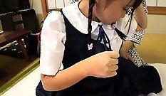 Asian teen in school uniform enjoy an ass fuck