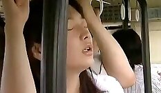 Amateur MILF undressing before sex on bus