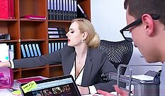 hot lady with a wet vagina is stretched out in her office while