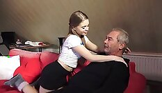 Angry step-sister pussyfucked hard with step-dad