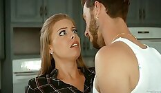 Awesome whore Penny Dee seduces young dude in the kitchen