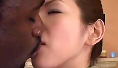 Attractive user Jeanie is fucked in interracial cunnilingus