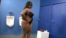 BBW Ebony Boy Touches Down To Wank Big Boner At Glory Hole