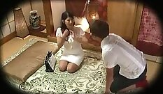 sexy blonde japanese whore gets a nice steamy massage