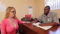 Big black cock covered and policewoman doggystyling