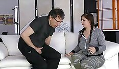 Athina Elson fucks her step dad while friends watch
