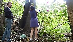 BDSM sub outdoors struggling with schlong in bust