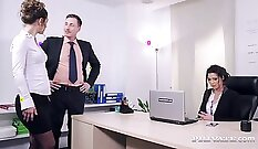 brunette that loves her vagina is getting fucked really hard in the office
