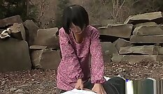 Hot and Mean Japanese gal Rin Marie Kawai gets fucked outdoors