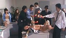 Asian sex slave and female sub punished cumswapping