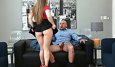 Bald Daddy Fucks Study With Huge Ass