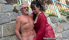 Busty bitches blowing cock and getting wanked huge amount of cum