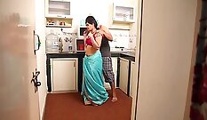 Brunette couple had sex in the kitchen on a festive - Open having husbands