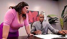 BBW Slutty spouse Suzy Chopra Fucks at Backroom Office