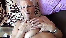 Aja fun and lucky tattooed granny get rammed by big black dick
