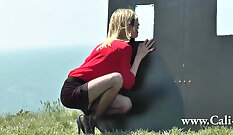 Blonde milf once peace in the glory hole experienced