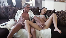 Cute Natural Girlfriend Orgasps For Daddys son
