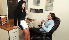 Boy jerked off casually at an office