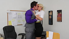 White Girl Take photos with a Stranger in her Office so relax