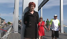 European redhead gets cummed in public