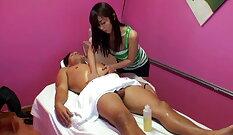 Beautiful shemale rubbing her clitless thong